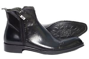 Jo Ghost334 M Mens black/blue boots with two zippers and studs