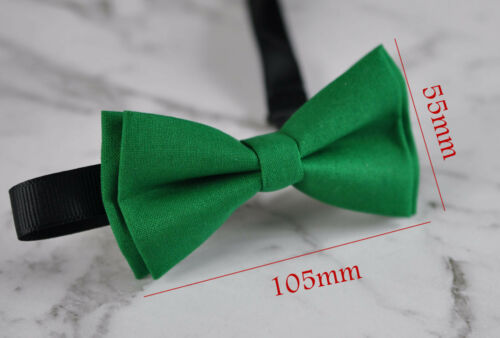 Boy Teenage 100/% Cotton Evergreen Deep Green Bow Tie Bowtie Fits 7-14 Years Old