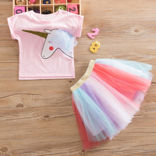 UK Girls Unicorn Tops T-shirt Lace Tutu Skirt Outfit Clothes Kids Party Dress