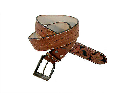 BUCKSTITCH FLORAL TOOLING GENUINE BUFFALO LEATHER HAND CARVED WESTERN BELT CINTO
