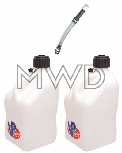 2 Pk VP 5 Gallon WHITE Racing Fuel Gas Can//Water Jug//Jerry Container/&Deluxe Hose