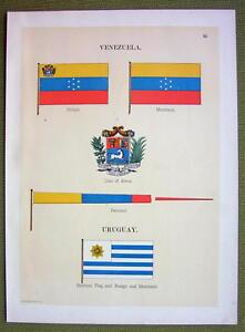 FLAGS-VENEZUELA-Uruguay-Coat-of-Arms-Naval-Marine-1899-Color-Antique-Print