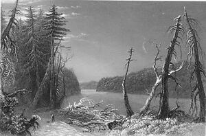 CANADA-Orford-Lake-Eastern-Townships-Steel-Engraving-Print