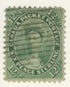 Canada-Stamp-Scott-18-6-Pence-st-Queen-Victoria-Used