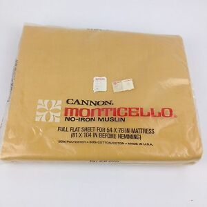 VTG-New-Sealed-Cannon-Double-Full-Flat-Bed-Sheet-50-50-NOS-Mustard-Gold-Yellow