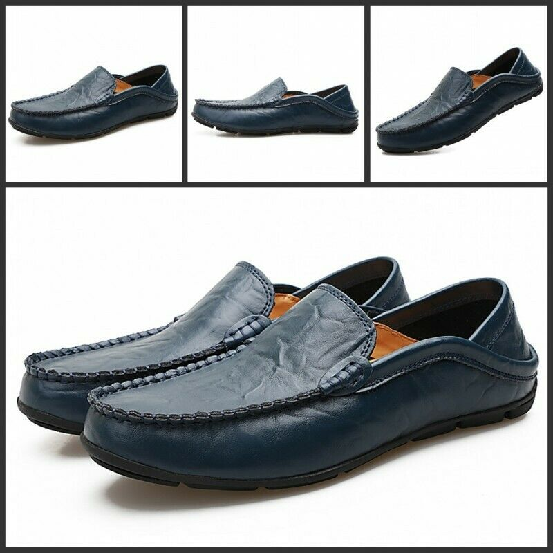 Spring Men Faux Leather Round Toe Slip On Solid Casual Business Loafers shoes New