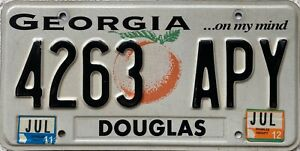 Georgia-Peach-DOUGLAS-County-American-License-Licence-USA-Number-Plate-4263-APY