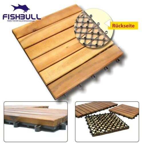 Fishbull Akazien Holzfliese 30x30cm bereits geölt für Balkon und Terrasse Fliese
