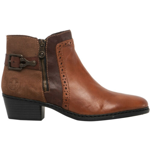 Rieker Womens Boots Aurelia 75585 Ankle Zip-up Casual Leather Suede