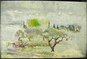 Francine Perrot Dessin Original à L'aquarelle Vers 1980 Paysage De Campagne Rhz2mnvz-10104355-454260981