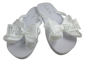 c0ce035e7 Image is loading White-amp-Silver-Bride-Glitter-Bow-Flip-Flops-