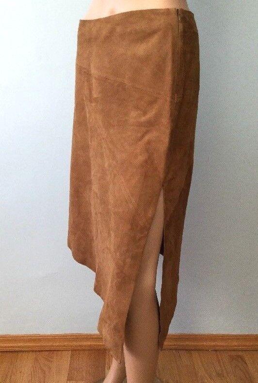 Womens Vakko New York Goat Suede Leather Brown Asymmetrical Skirt Vintage VTG 10