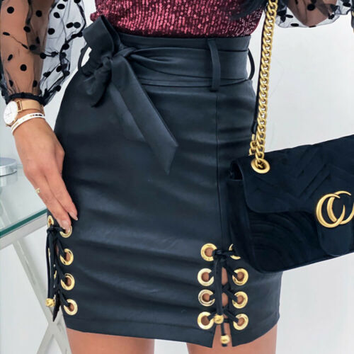 Womens PU Leather High Waisted Pencil Skirt Ladies Lace Up Bodycon Mini Dresses