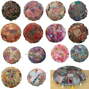 """Vintage Patchwork 32/"""" Round Floor Cushion Cover Indian Large Brown Pillow Case"""