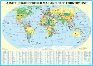 Details about 2018 Ham Radio Map with DXCC lookup table 23x33\