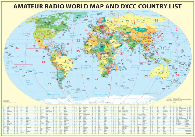 24x36 Ham Radio World Map 2018 Edition With The DXCC Country List ...