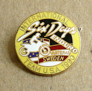 1990-FIM-Six-Days-ENDURO-Motorcycle-TEAM-USA-pin-badge-ISDE-Sweden-ISDT
