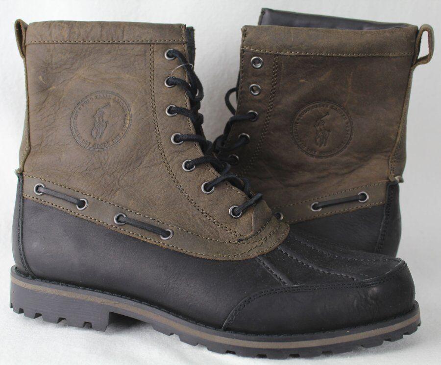 Polo Ralph Lauren Whitsand botas De Cuero Marrón Negro Nuevo Con Etiquetas