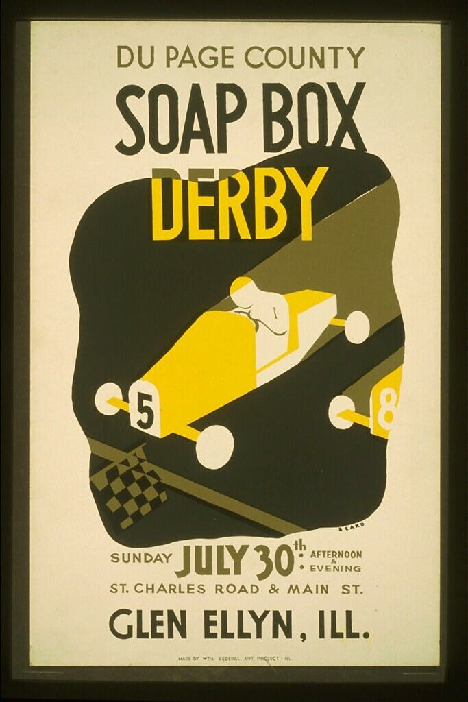 US Seller- art poster for sale Du Page County soap box derby WPA artwork poster 3