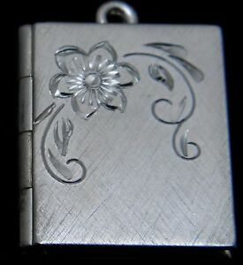 "New Sterling silver book locket with engraved flower on 18/"" chain"