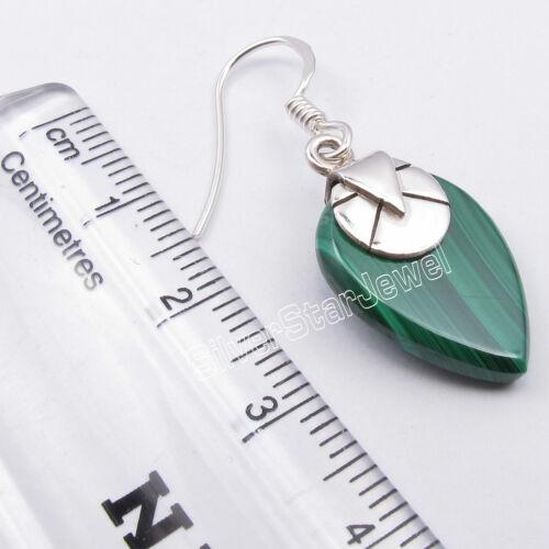 "925 Solid Silver 13 x 18 mm GREEN MALACHITE 14.0 TCW Drop Dangle Earrings 1.4/"""