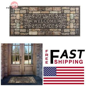 Delicieux Details About Pebbles Door Mat 20 In. X 47 In. Outdoor Rug Entry Way Rubber  Main Entrance