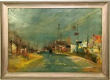 MID CENTURY MODERNIST OIL PAINTING Street Scene signed C.A. KOLB