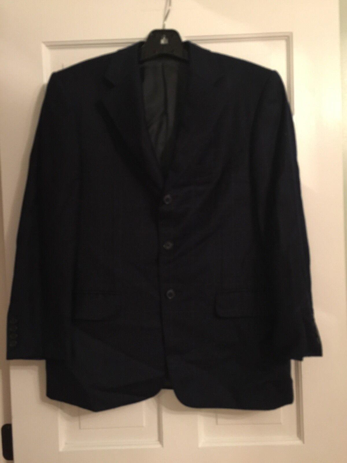 ERMENEGILDO ZEGNA  Su Misura Navy Windowpane Wool 3 Button Blazer Größe 48