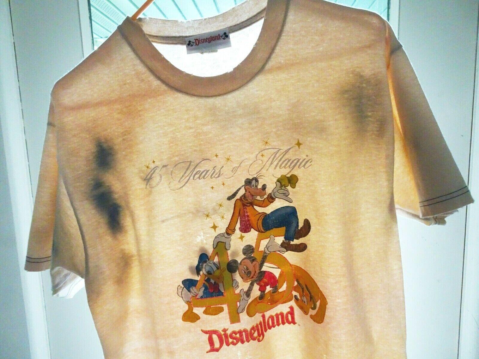 M Vtg 90s Y2K Disneyland CA Mickey Goofy Donald Duck Distressed Thrashed T-Shirt