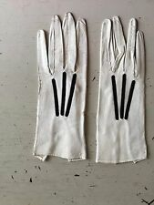 Vintage 1920s Gloves Cream Kid Leather Black Silk Embroidery French Couture 8