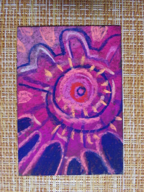 ACEO original pastel painting outsider folk art brut #010260 abstract surreal