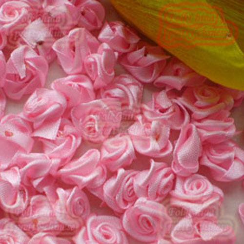 Pink Satin Ribbon Roses 15mm Appliques Scrapbooking Sewing Craft JMSR