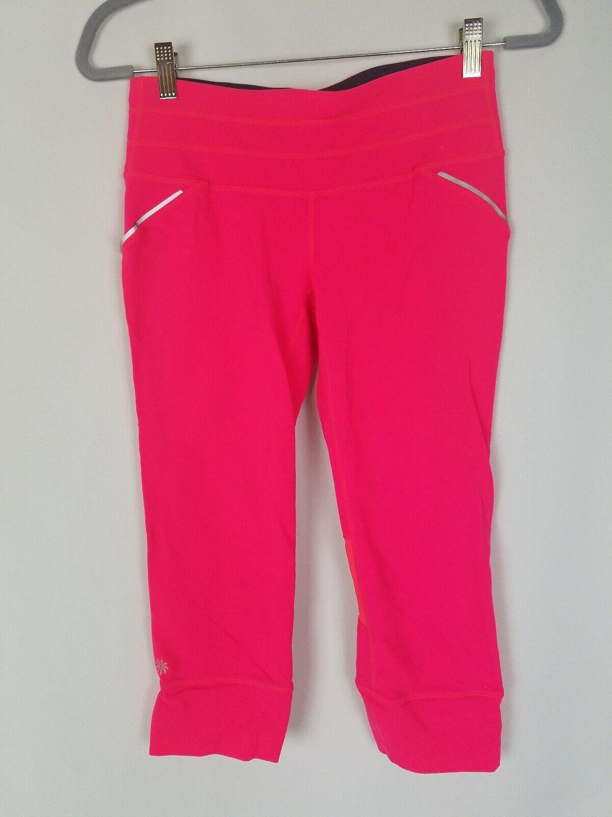Athleta DAMEN S Laufen Capri Hell Rose Rosa Netz Einzelheiten Sportbekleidung