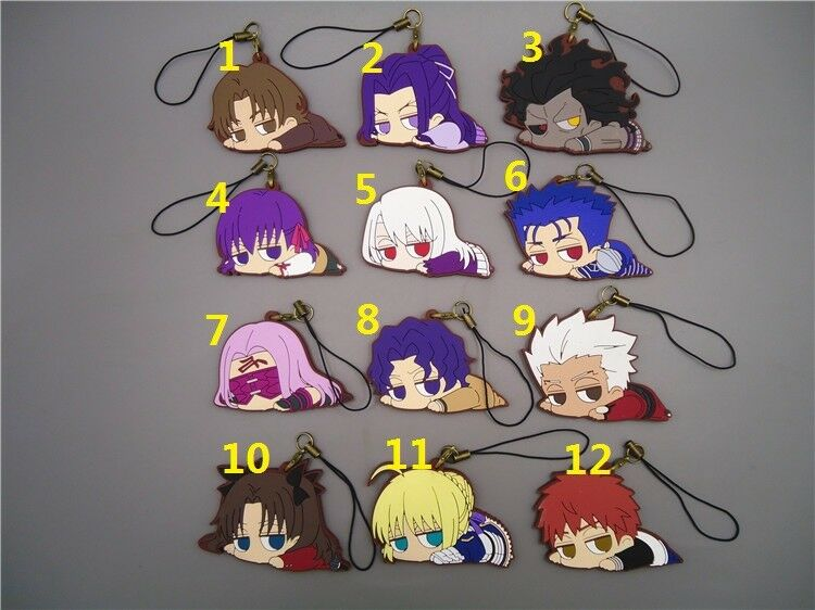Fate stay Night Fate Zero Saber Lancer Movic Rubber Strap Keychain Keyring LY