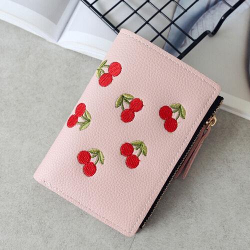 Girl Short Wallet PU Cherry Embroidery Coin Purse Card Holders Money Bag Pu Ja