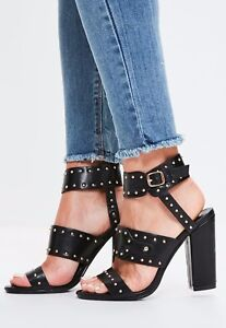6ac677fea4f64 Image is loading MISSGUIDED-Black-Cuff-And-Studded-Block-Heel-Sandals-