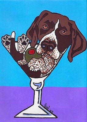 11X14 GERMAN SHORTHAIR POINTER Martini Dog Pop Art PRINT of Painting by VERN