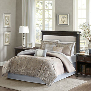 Deluxe Blue Brown Jacquard Motif Comforter Embroidery Cal King Queen