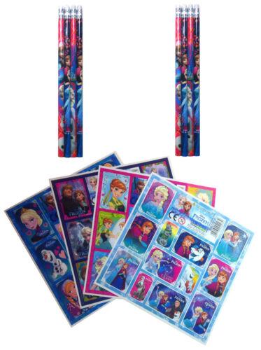 8 Stickerbogen Mitgebsel Kindergeburtstag Set Frozen 8 Bleistifte 16 tlg