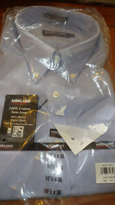 Solid Blue Mens Dress Shirt Big Mens Button Down 100% no Iron Cotton