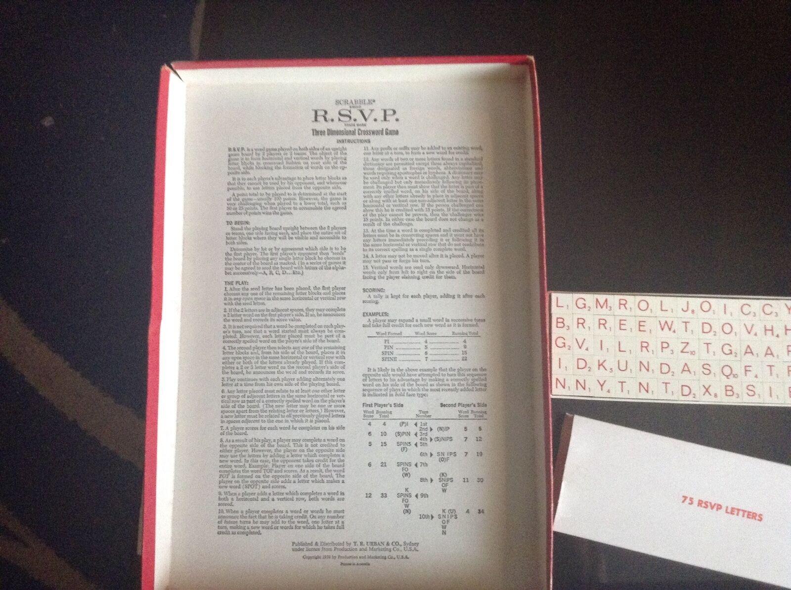 Scrabble RSVP Retro 1966 Vintage Retro RSVP Board Game be15fc