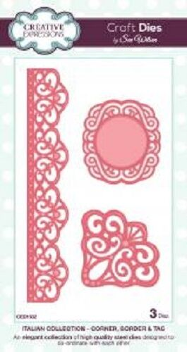 Sue Wilson ITALIAN COLLECTION Corner Border Tag Dies CED1502 3 Dies