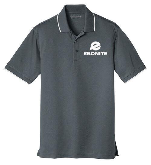 Ebonite Men's Choice Dry Zone Micro-Mesh Polo Bowling Shirt Graphite White
