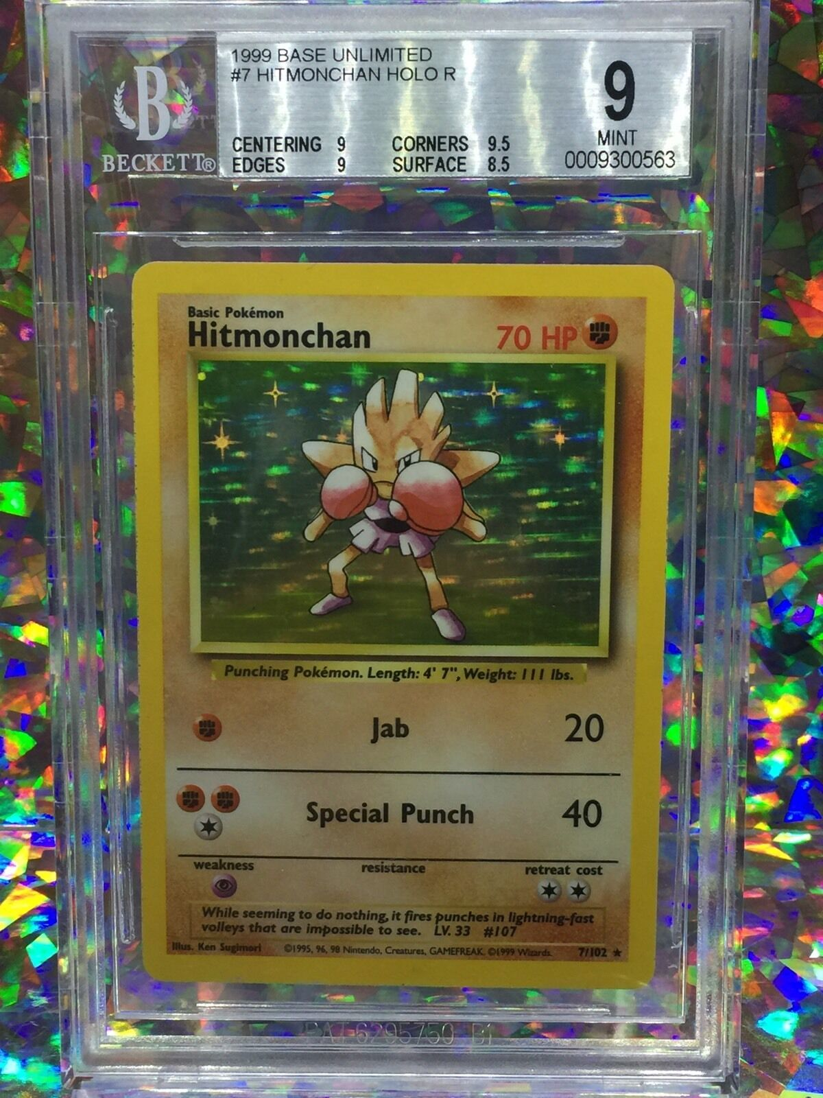 1999 Pokemon Base Hitmonchan Holo Unlimited Card 07 102 Rare BGS 9 Mint