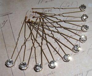 10 x diamonte hair pins, grips, clips, Bridal, bridesmaid, prom,  tiara alt,