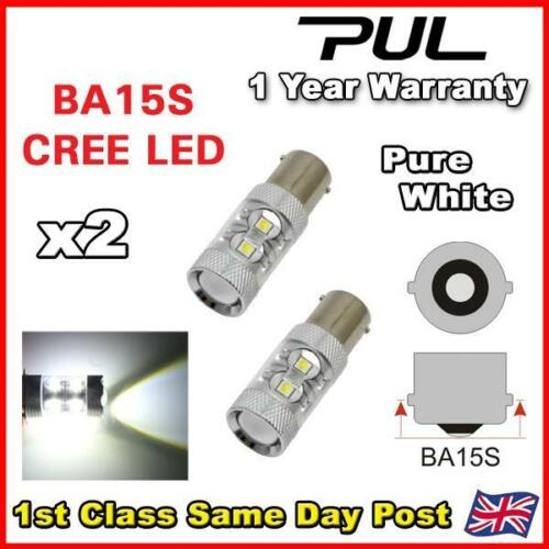 2 x CANBUS ERROR FREE BA15S 382 p21w 1156 BULB XENON WHITE DRL CREE SMD LED