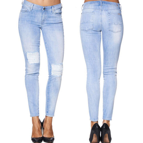 7 SEVEN for all Mankind Jeans THE SKINNY CROP Bay Coral Distressed Hellblau NEU