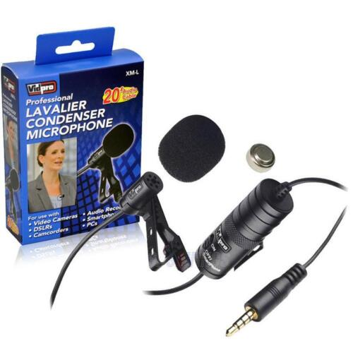 Sony HDR-CX160 Microphone Vidpro XM-L Wired Lavalier Microphone 20' Audio Cable