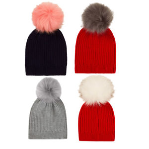 39fa7a927 Details about Childrens Boys Girls Chunky Beanie Bobble Hat with Detachable  Changeable pompom