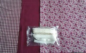 Dollhouse Miniature 4 pc Vintage Coordinating Small Print Fabric /& Lace